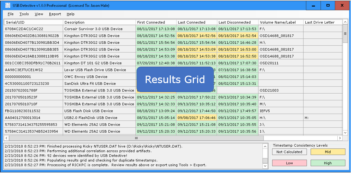 USB Detective Results Grid